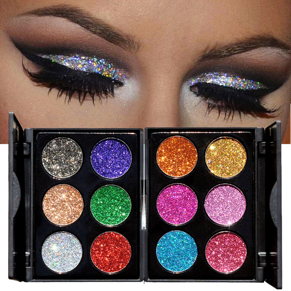 HANDAIYAN Makeup 6 Colors Waterproof Glitter Eyeshadow Palette Shining Metals Powder Shimmer Eye Shadow Pigments Kits Diamond Make Up