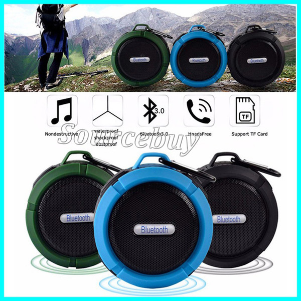 Portable Audio Player C6 Wireless Mini Bluetooth Waterproof Speaker Support SD TF Card Suction Cup Buit-in Mic Hands-Free Speakerphone Sound