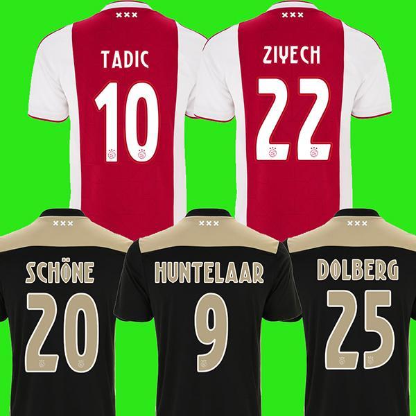 2018 2019 ajax futbol forması ev ZIYECH ev futbol forması DOLBERG HUNTELAAR Camiseta 18 19 Ajax Hollanda