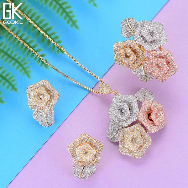 GODKI  Flower Nigerian Cubic Zircon Ring Necklace Earring Jewelry Sets For Women Wedding  Dubai Bridal Jewelry Sets