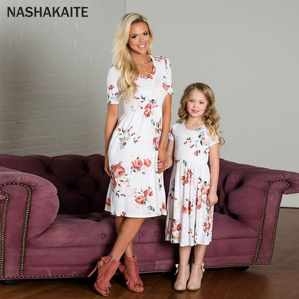 Mother daughter dresses Floral Print Mini Dress Mommy and me clothes Mom and Daughter Dress Vestido mae e filha matching outfits