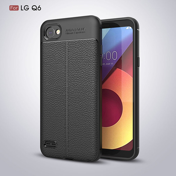 For LG G6 G7 Q7 Soft Silicone TPU Case Cover Anti-Slip Lychee Pattern Texture Phone Cases for LG Q Stylus / Q6 plus / K8 K10 2018