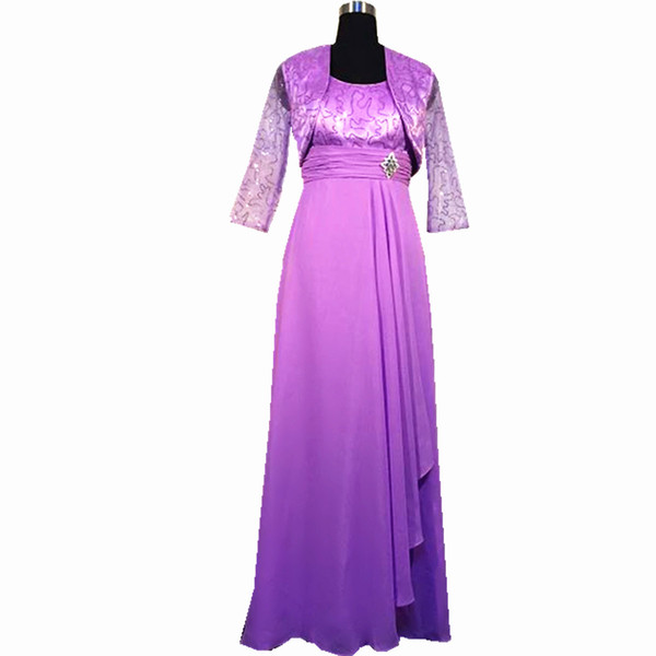 2018 Ghands JJShouse Chiffon A-Line Tow piece of Suit Long Sleeves Ankle-Length Formal Gowns Wedding Guest Mother of The Bride Dresses