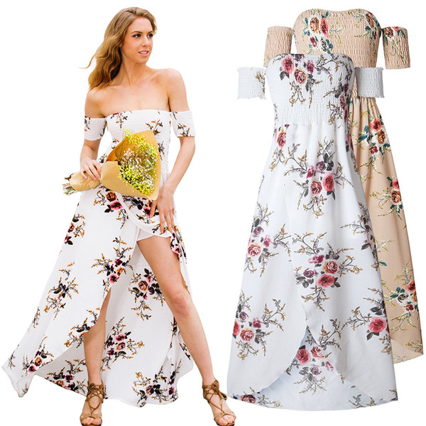 European and American foreign trade dress sexy dress wrapped chest thin waist stamp split skirt Beach Resort