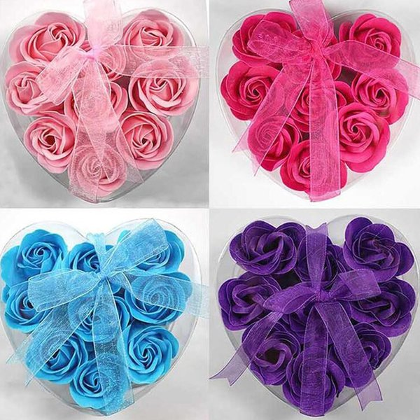 9Pcs/Box Heart-Shaped Rose Soap Flowers Romantic Wedding Birthday Party Gift Artificial Flower Decor Health Care Tool