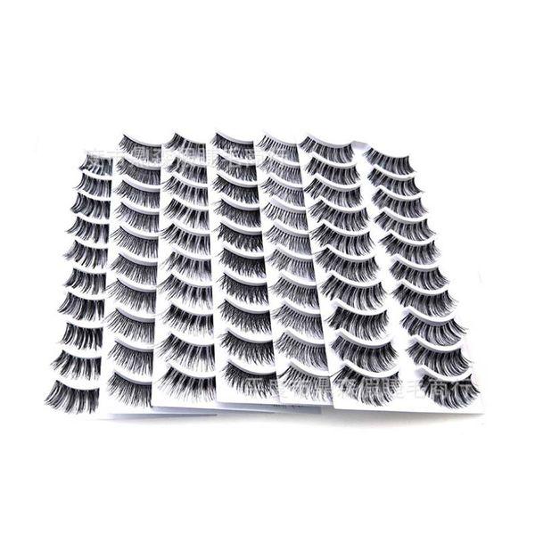 10 Pairs Makeup Handmade Natural Black Crisscross Thick Curl Long Clear Band False Eyelashes Extension Full Strip Fake Eye Lashes
