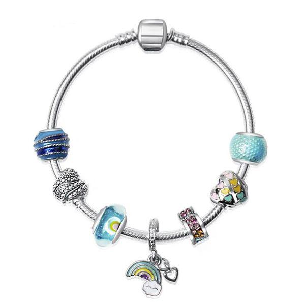 ¡Compre 10 y obtenga 2 gratis! 18 19 20 CM Charm Bracelet 925 Pulseras de plata para las mujeres Rainbow Colorful Beads Pulsera Diy Jewelry