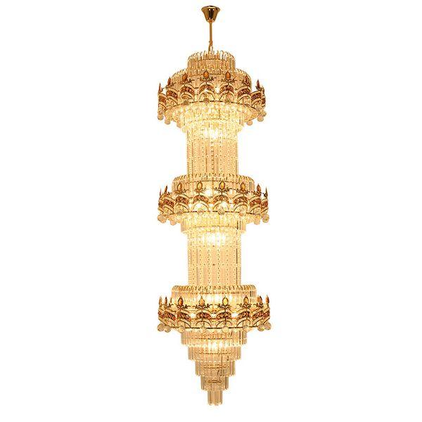 Lujo Gran Europa Gran oro Lustre Diseño de cristal Araña de cristal moderna y larga Luz LED 3 capas Hotel Lobby Lámparas de araña