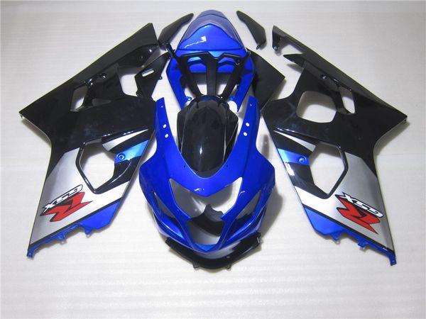7gifts Kit carenatura per SUZUKI GSX-R600 GSX-R750 2004 2005 K4 nero blu argento LUCKY STRIKE carenatura carrozzeria set GSX-R600 / 750 04 05 SW63