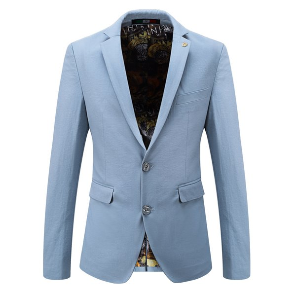 2018 Men Party Brand Blazers Casual Slim Fit Cotton Suit Jacket Groomsman Coat High Quality Male Wedding Dress Business Clothing