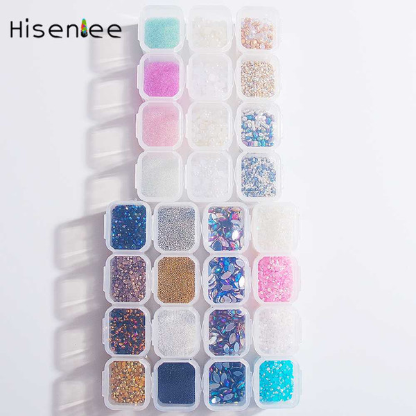 Four Grid Fashion Nail Art Rhinestone Nail Shop Salon Special Classic Sweet Full Style Colorful Glass Resin Broken Glass Stone