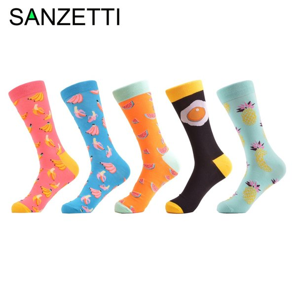 Sanzetti 5 Pairs /Lot Women 'S Funny Colorful Combed Cotton Socks Cartoon Food Oil Painting Cute Ankle Socks Novelty Gift