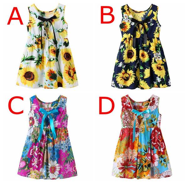 INS Girls lemon Milk party DRESS girls floral print beach princess dress cute baby summer vest halter dresses kids vintage flower dress