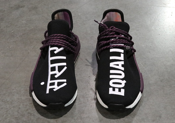 the latest 10856 7a365 2019 2018 Authentic Pharrell Williams Human Race Equality Black Purple  Sanskrit Sports Sneakers Men Running Shoes AC7033 With Box From Shopcjy, ...
