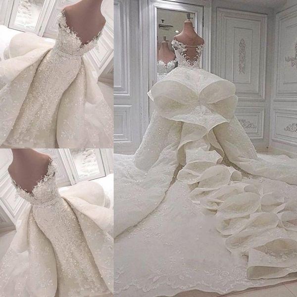 Acheter Robes De Mariee De Luxe 2018 2019 Dentelle De L Epaule Chapelle Robes De Mariee Avec Amovible Train Personnalise De Mariage Robes De 422 12