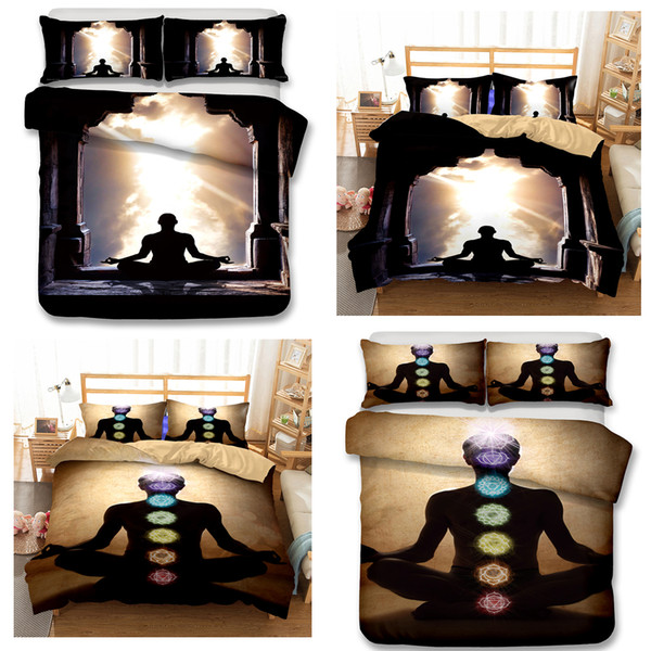 Adult Bedding Sets Yoga Meditation 3pcs Duvet Covers Pillow Case Queen Size All Size A