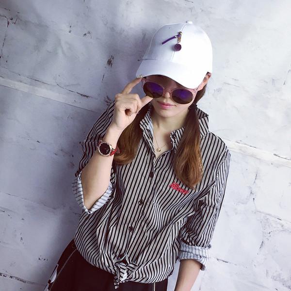 Hat female summer fashion wild tide casual hair ball cap iron buckle men's travel sunscreen visor baseball cap