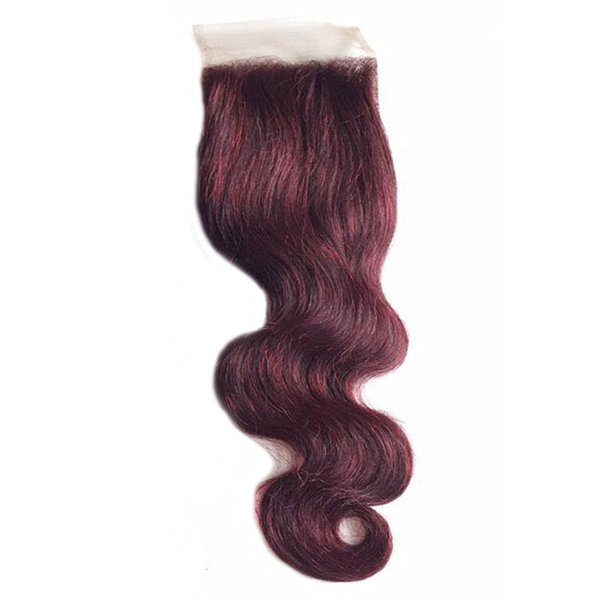 8A Brazilian 99j Wine Red body wave Hair Wefts 100% Virgin Human Hair Extensions 3Bundles With 4x4 Lace Closure Free Middle 3 Part.