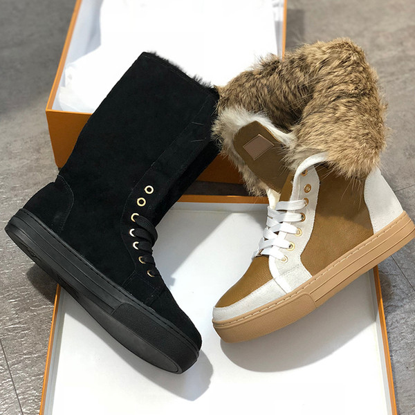 woman designer suede real fur boots outdoors winter snow boots new women designer genuine leather flat ankle boots luxury shoes, Black