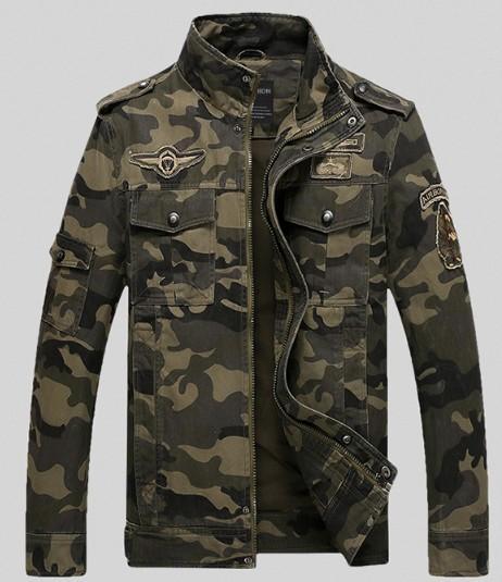 Men's Tooling Special Forces Herbst neue Stehkragen Baumwolle Casual Camouflage Jacke gewaschen Militäruniformen Großhandel