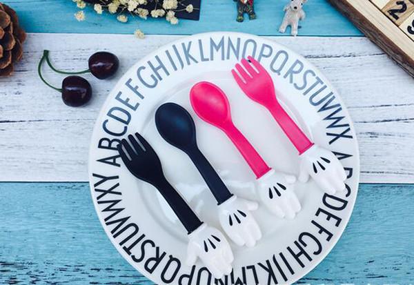 Çocuk Bebek Kaşık Çatal Seti Bırak Direnç Sofra-Sevimli Kaşık Spork Çocuk Yemek Gıda Sınıfı Plastik (Pembe / Siyah)