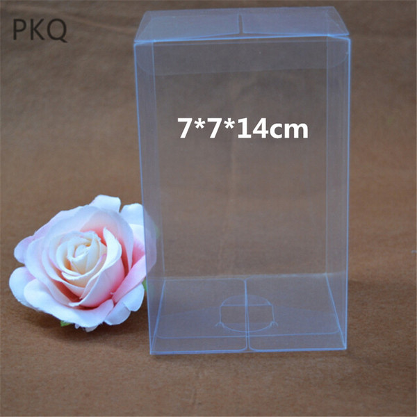 30pcs Top Sale Clear Rectangle PVC Box Packing Custom Gift Boxes Candy/Cake/Cookie/Cupcake packaging Box Toys Display 7x7x14cm