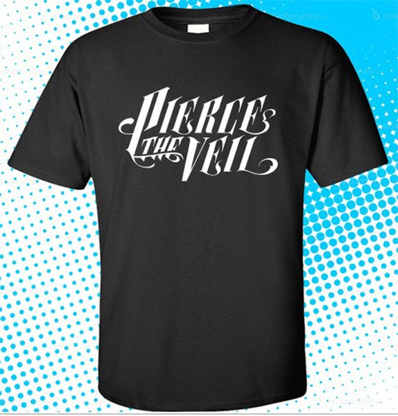 New PIERCE THE VEIL Rock Band Logo Men's Black T-Shirt Size S to 3XL Plus Size Casual Clothing