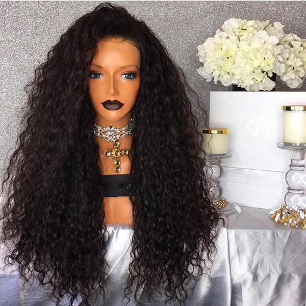 Sıcak Satış Isıya Dayanıklı 16-26 Inç Yarım El Doğal Gevşek dalga Dantel ön Tam Yoğunluk Sentetik Peruk Siyah Kadınlar Için babyhair ile