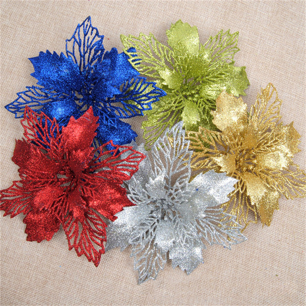 Christmas Flower Decorations.Gold Silver Red Christmas Flower Glitter Christmas Tree Ornaments Festival Party Supplies Home Xmas Diy Decoration Festive Decorations Find Christmas