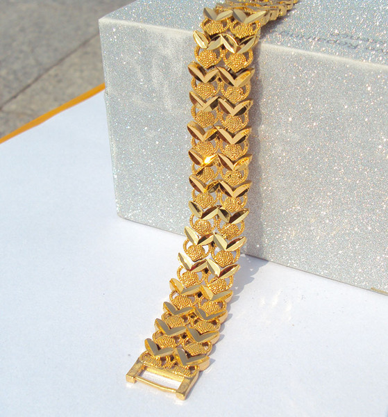 24K 24CT Yellow Solid Gold Layered WIDE Euro Curb Link Bracelet 26gram LADIES S736