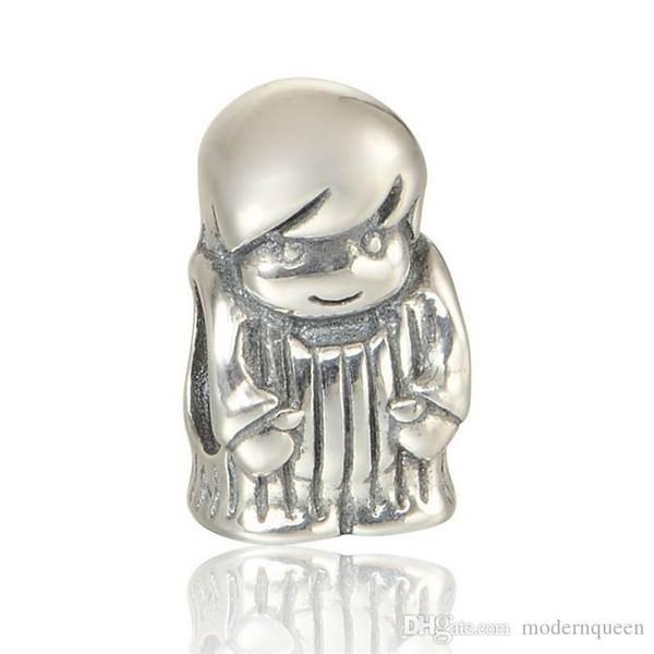 5 шт. / лот подлинные прелести маленький толстый мальчик S925 стерлингового серебра подходит Пандора стиль браслеты 791530 h9