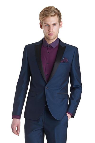 2018 Latest Coat Pant Designs Navy blue men peaked lapel tuxedos Men suits for wedding Business prom blazer jacket and pants