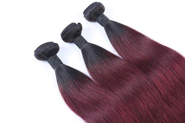 Remy Ombre Straight Human Hair Bundles 1PC Brazilian Hair Weave Bundles Salon Ombre Wine Red Hair Extensions T1b 99j