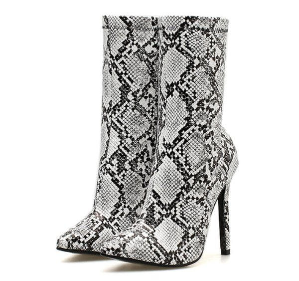 Sexy PU Serpentine Leopard stiletto boots for women 11.5 CM high-heeled fashion boots zipper Long trunk cool boots tip