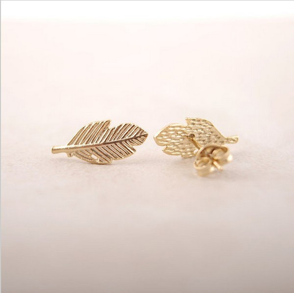 The latest elements A leaf stud earrings Gold-color/silver plated/rose Gold-color earrings wholesale free shipping