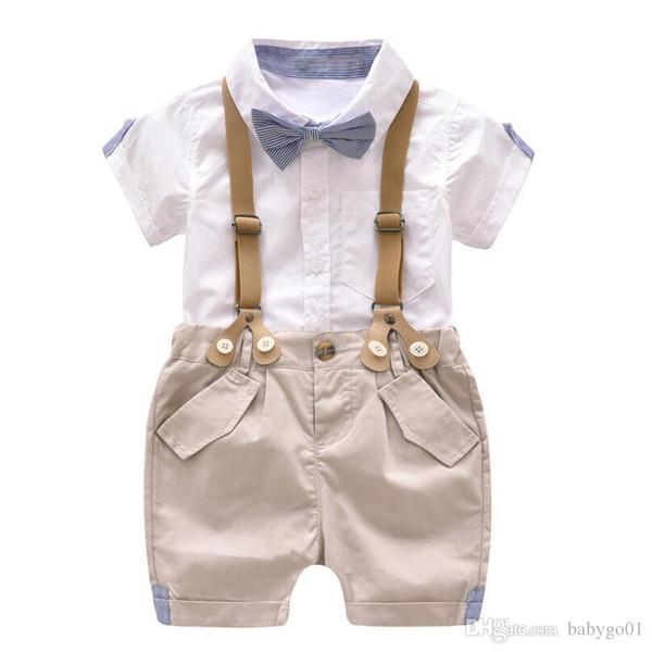 fca7413691ff Compre Conjunto De Ropa Para Niños Pequeños Conjunto De Pantalones Cortos  Para Bebés Traje De Verano 1 2 3 4 Años Niños Ropa De Niños Trajes Traje ...