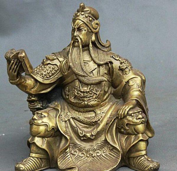 "5"" Chinese Brass Carving Guan Gong Dragon Lion Guan Yu Hold Book Buddha Statue"