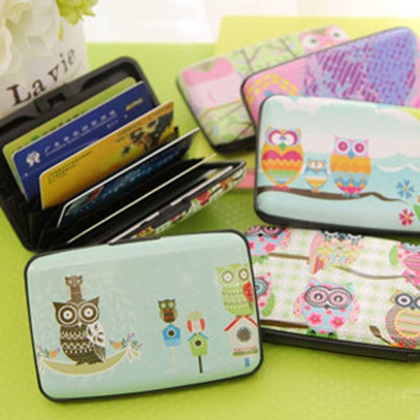 Korean Style Cute Owl Design ID Bank Holder Wallet Plastic Box Organizer 7 Pockets for Women Girls