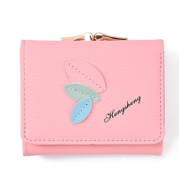 Women Mini Wallets Female Leaves Pattern Short Money Wallets PU Leather Lady Coin Purses Card Holder