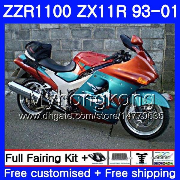 Body For KAWASAKI NINJA ZX 11R ZX11R 93 98 99 00 01 206HM.33 ZZR 1100 ZX11 R ZZR1100 Orange blue ZX-11R 1993 1998 1999 2000 2001 Fairings