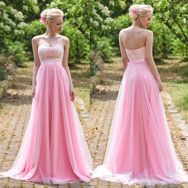 Simple Pink A-Line Sweetheart Lace Corset Tulle With Sashes Prom Dresses Open Back Evening Dress Sweep Train Long Bridesmaid Dress