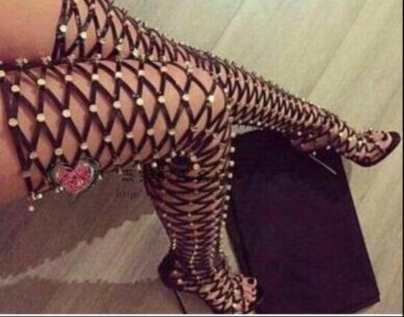 2018 new arrival women over knee high gladiator sandals boots thigh high long bootis thin heel cuts out bota spike stud leather boots