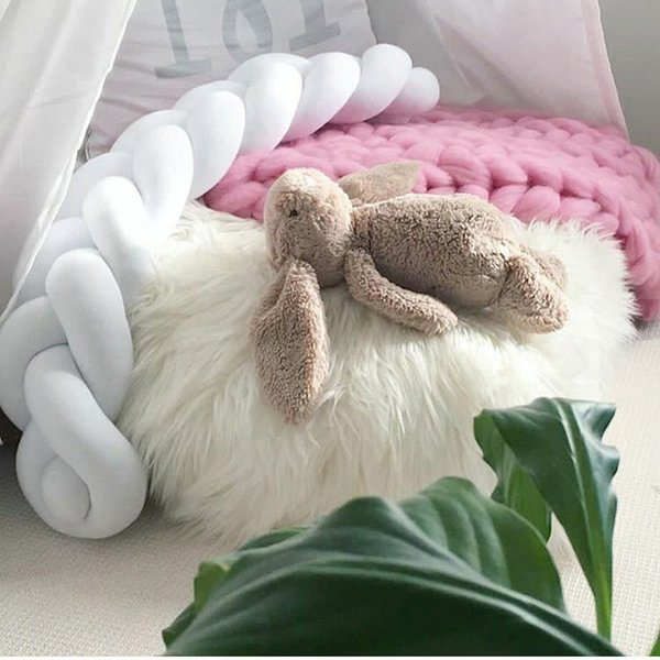 Long Plush Knot Rope Baby Room Decoration Soft Cushion Bolster Bed Fence Braided Strip Weave Stuffed PP Cotton Solid Comfortable Pillow