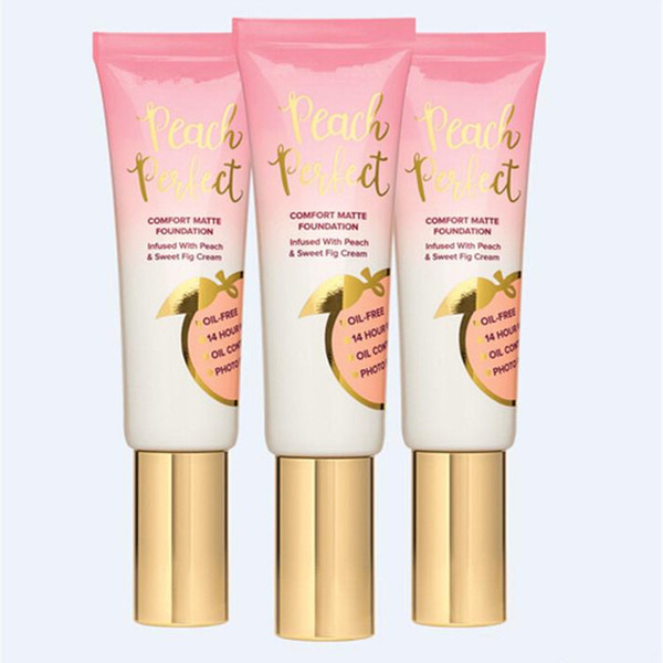 New Hot makeup Foundation Peach perfect comfort matte foundation 3colors 48ml Face cream Foundation High quality DHL shipping