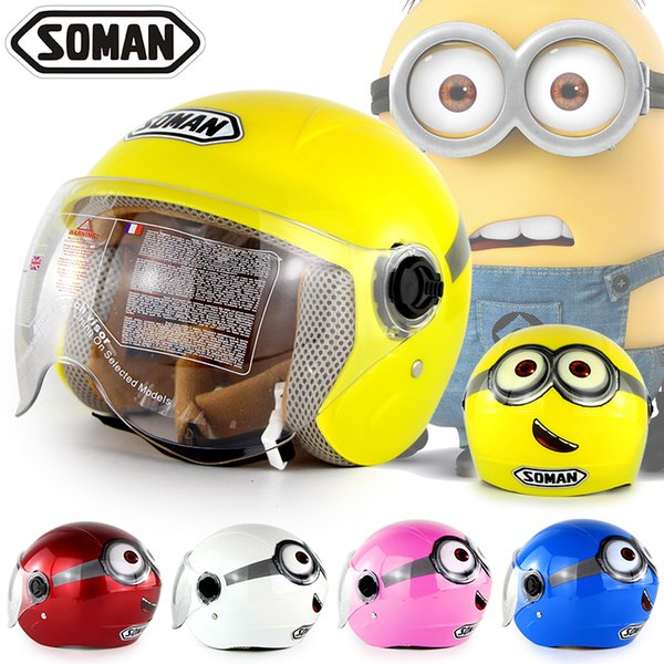 best selling Soman 305 Kids Helmets Children Motorcycle Helmets Boy Girl Safety Cap 6 Colors 5-14 Years old
