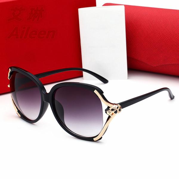 2017 neue Mode Leopard Kopf Sonnenbrille Metall großen Rahmen Brille Korean Frauen Brille Damen Sonnenbrille 9022 Brillen