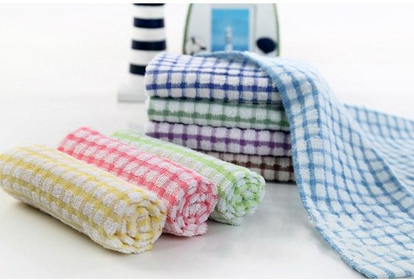 New Kitchen Dish Towels Cotton Soft Microfibre Double-sided Absorbent Non-stick oil Wash Bowl Towels Kitchen Cleaning Cloth 28*40cm SN1150