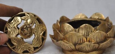 Mark Chinese Buddhism copper Brass Lotus lucky incense burner Censer Statue decoration metal handicraft