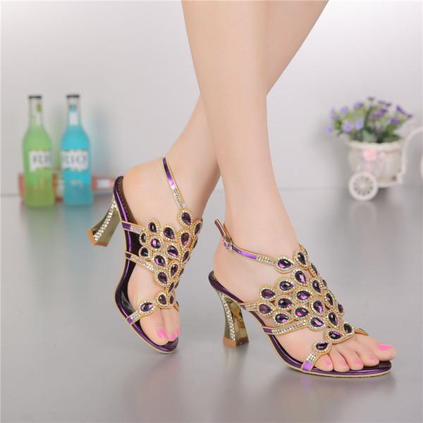 Style Coréen Diamant Cristal De Luxe Sandales Talons Haut Romain Femmes Violet Chaussures De Soirée Plus La Taille 11 De La Mode 2018 Été