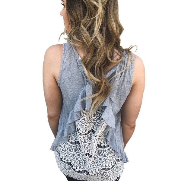 Fashion Sleeveless Vest Shirts Womens Casual Plus Size Lace Back Patchwork Style Crochet Tees Tops WS8098U